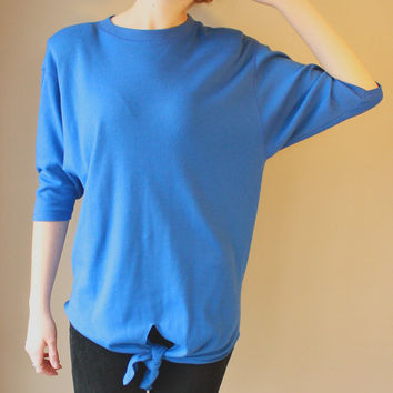 1980s Vintage Cobalt Blue Shirt. Slouchy shirt. Tie Blouse. 3/4 length tapered bat wing sleeves. Trendy/ Hipster/ Spring/ Summer Fashion.