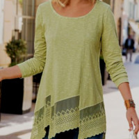 SOFT SURROUNDINGS Eyelet Lace Tunic Top NEW