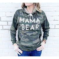 "2020 new ladies ""MAMA BEAR"" printed camouflage hooded sweater"