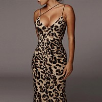 Leopard Print Sleeveless V-neck Sexy Midi Dress Women Fashion Streetwear Christmas Party Outfits