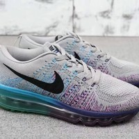 """Nike Air Max"" Women Sport Casual Fashion Multicolor Flyknit Rainbow Air Cushion Running Shoes Sneakers"