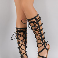 *Qupid Strappy Buckled Lace Up Gladiator Flat Sandal