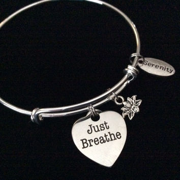 Just Breathe Heart Stainless Steel Charm with Lotus and Serenity on Silver Bracelet Expandable Adjustable Wire Bangle Gift Trendy Stacking Yoga Meditation