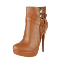 Womens Ankle Boots Strappy Buckle and Zipper Acce Sexy High Heels Tan