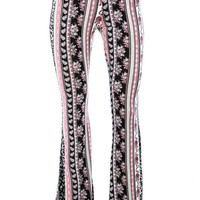 Black and Pink Floral Flare Pants