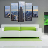 5 Panels,New York City empire state building art work, Canvas oil printing.