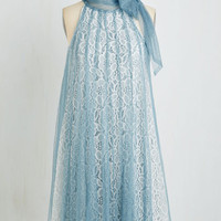 Vintage Inspired Mid-length Sleeveless Shift Time and Grace Dress in Dusty Blue