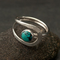 Turquoise Ring- Turquoise Stone Ring- Silver Turquoise Ring- Sterling Silver Ring- December Birthstone- silver jewelry-5, 6, 7, 8