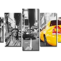 """SZ HD Painting C748 Canvas Prints for Home Decoration, Framed, Stretched- 5 Panels New York City Yellow Taxi Picture Print on Canvas- Modern Home Decor Wall Art- 40""""W x 20""""H overall (SMALL size)"""