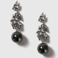 Rhinestone Leaf Ball Earrings - EVERYTHING BUT THE DRESS - We Love