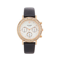 kate spade new york Pave Metro Grand Leather Strap Chronograph Watch