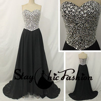 Black Long Strapless Chiffon Prom Evening Dress with Sparkly Rhinestons Beaded Top