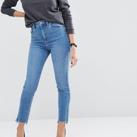 ASOS FARLEIGH Slim Mom In Jecca Pretty Midwash with Side Tabs and Stepped Hem at asos.com