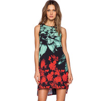 Floral Chiffon Sleeveless Mini Dress
