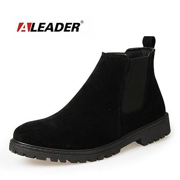 New British Style Men's Chelsea Boots Luxury Brand Leather Casual Ankle Boots Dress Shoes