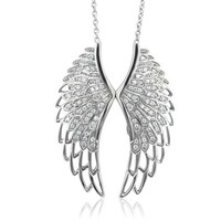 Sterling Silver Angel Feather Wing White Diamond Pendant Necklace (HI, I1, 0.50 carat)