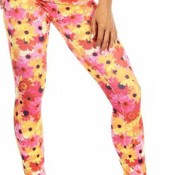 Sexy High Waist Cuff Roll Down Stretch Work Out Athletic Leggings - Sunflower