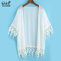 Blusas Cardigan Kimonos Japanese Clothes Summer Women's Vogue Tops Solid White Half Sleeve Lace Embellished Loose Kimono