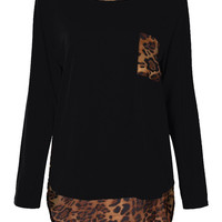 Casual Women Leopard Printed Pocket Long Sleeve T-shirt