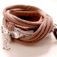 SILVER Leather and TAUPE Stretch Wrap Bracelet Fashion accessory Women Teens Wrist Tattoo Cover