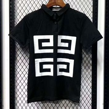 GIVENCHY Summer Trending Men Casual Print Short Sleeve T-Shirt Top Black