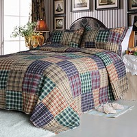 [Conrad] 100% Cotton 3PC Vermicelli-Quilted Patchwork Quilt Set (King Size)