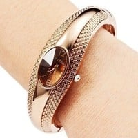 Fashion metal dress elegant woman wristwatch gold color steel rhinestones watch