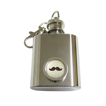 Bordered Brown Hipster Mustache Keychain Flask