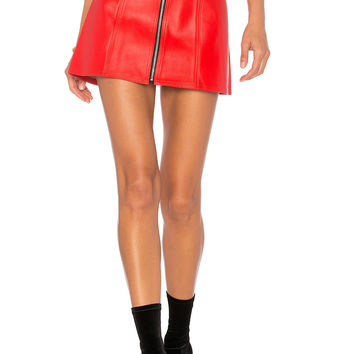 Understated Leather x REVOLVE High Waisted Zip Skirt in Red