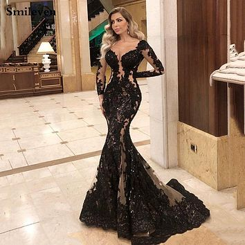 Smileven Mermaid Formal Evening Dress Long Sleeve Sexy Black Long Prom Party Gowns Custom Made