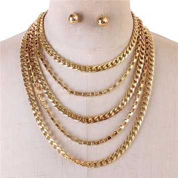 "13"" gold 5 layer chain necklace .50"" earrings"