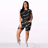 Black Womens Stylish CHAMPION Two Pieces Tee Shorts Sportswears