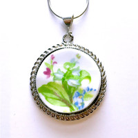 Broken China Jewelry Lily of the Valley Necklace Gift for Her, Unique Jewelry, Vintage China, Green Wedding Jewelry