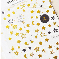 Creative Star And Tower Stickers Diary Sticker Scrapbook Decoration PVC Stationery DIY Stickers School Office Supply