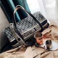Dior Women Fashion Leather Embroidery Luggage Travel Bags Tote Handbag