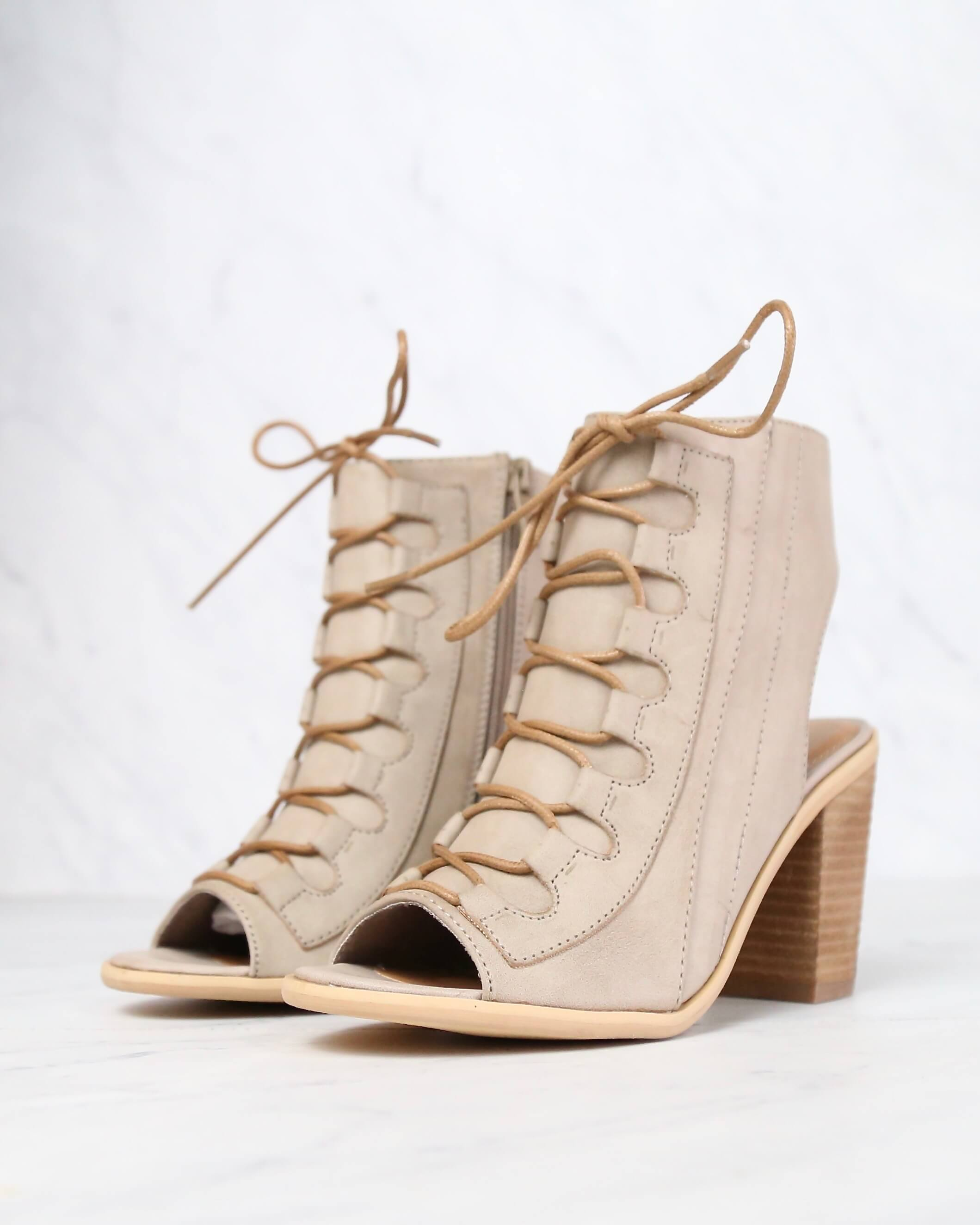 Image of Very Volatile - Dapper Taupe Heeled Sandals
