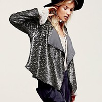 Free People Womens Drippy Sequin Jacket - Silver