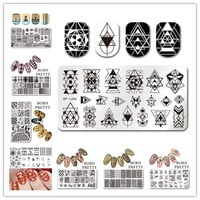 BORN PRETTY 1 Pc Rectangle Nail Stamping Plate Nail Art Stamping Image Plate BP-L Cute Design Nail Stamp Template 17 Patterns