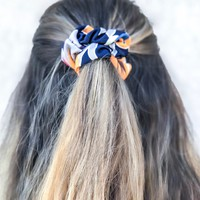 Navy Tropical Scrunchie