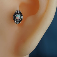 tragus earring 16g tragus piercing tragus stud silver opal conch piercing conch earring tribal unique boho bohemian jewelry