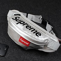 Supreme Trending Men Women Stylish Wallet Waist Bag Single-Shoulder Bag Silvery