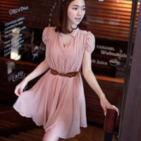 Wholesale Graceful Puff-sleeve Elastic Waist with Belt Dress Pink