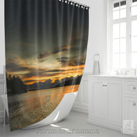 Shower Curtain With Colorful Sunset Photography Print, Bathroom Decor, Nature Photography, Home Decor, Wanderlust, Bath Curtain, Art, Gifts