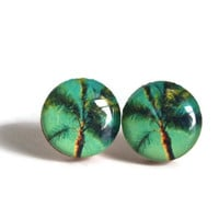 Palm Tree Studs - south florida sunny trees plants resin post earrings handmade jewelry cute boho beach hipster chic FREE shipping to USA