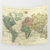 Vintage Map of The World (1823) Wall Tapestry by BravuraMedia