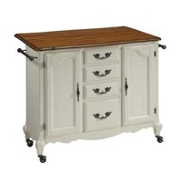 Home Styles French Countryside Oak and Rubbed White Wooden Drop Leaf Kitchen Work Center-5518-95 - The Home Depot