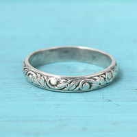 Silver ring, floral band, wedding ring, stacking ring, anniversary ring, antique style, vintage ring, Renaissance ring, rustic wedding