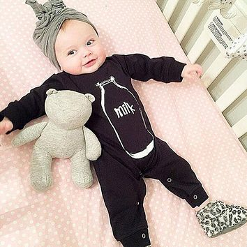 2018 new style Newborn clothes Baby Girl boy Clothes Baby Romper Cotton black Bottle printing Long Sleeve Unisex Infant Clothing