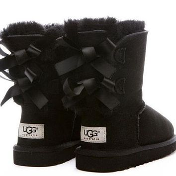 UGG:: bow leather boots boots in tube-4
