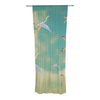 "Natt ""Swan"" Teal Yellow Decorative Sheer Curtain"